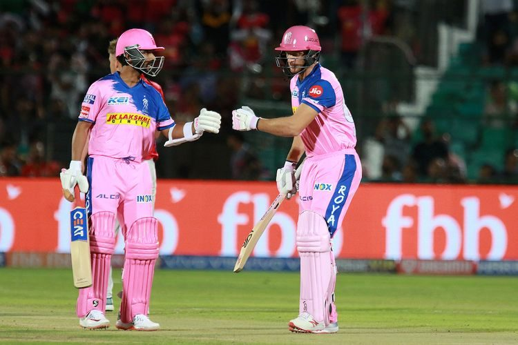 Jos Buttler of RR and Ajinkya Rahane captain of RR during match 4 of the Vivo Indian Premier League Season 12, 2019 between the Rajasthan Royals and the Kings XI Punjab held at the Sawai Mansingh Stadium in Jaipur on the 25th March 2019