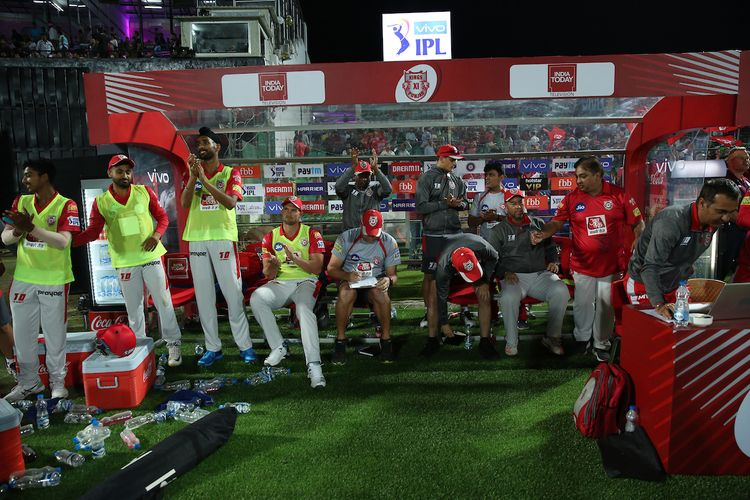 Kings XI Punjab team celebrate win during match 4 of the Vivo Indian Premier League Season 12, 2019 between the Rajasthan Royals and the Kings XI Punjab held at the Sawai Mansingh Stadium in Jaipur on the 25th March 2019