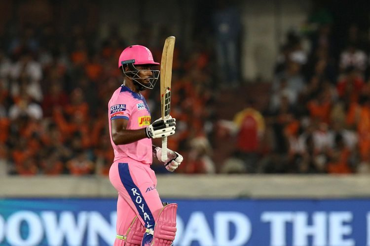Sanju Samson of Rajasthan Royals celebrates his century during match 8 of the Vivo Indian Premier League Season 12, 2019 between the Sunrisers Hyderabad and the Rajasthan Royals held at the Rajiv Gandhi Intl. Cricket Stadium, Hyderabad on the 29th March 2019