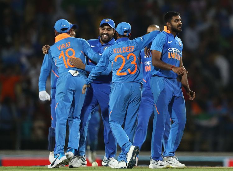 Indian team celebrate after they defeated Australia in the second ODI in Nagpur, India.