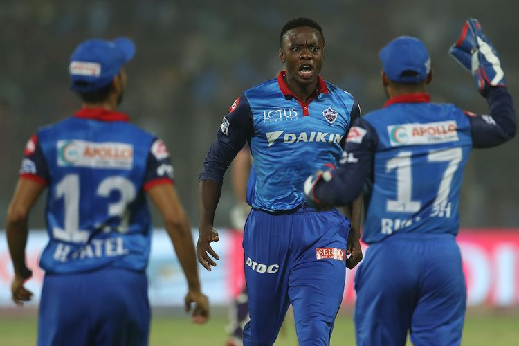 Kagiso Rabada of Delhi Capitals celebrates the wicket of Chris Lynn of Kolkata Knight Riders during match 10 of the Vivo Indian Premier League Season 12, 2019 between the Delhi Capitals and the Kolkata Knight Riders held at the Feroz Shah Kotla Ground, Delhi on the 30th March 2019