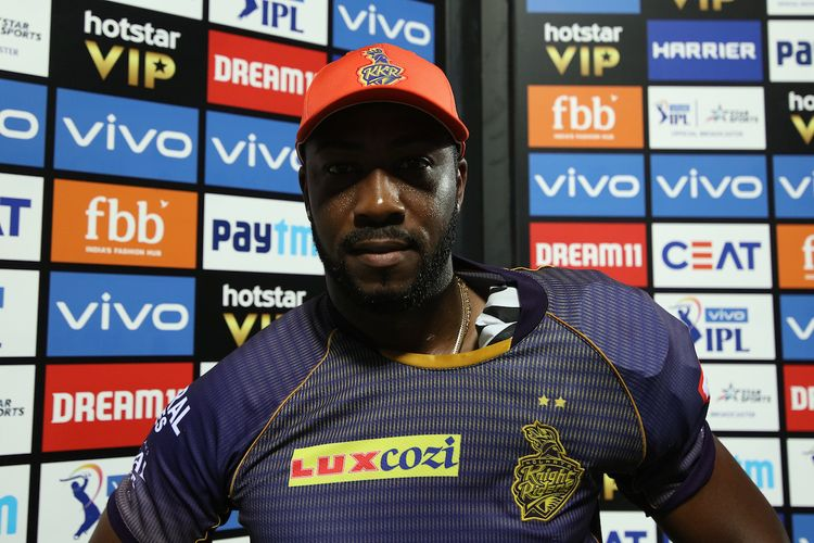 Andre Russell of Kolkata Knight Riders with orange cap during match 10 of the Vivo Indian Premier League Season 12, 2019