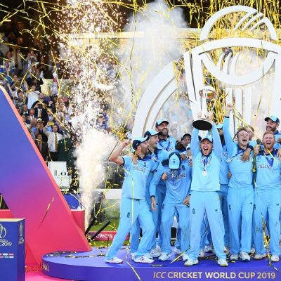 Trophy England after winning 2019 World Cup